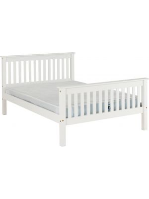Monaco White King Size Bed with High Foot End