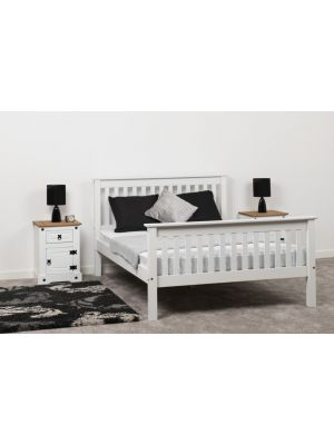 Monaco White Double Bed with High Foot End