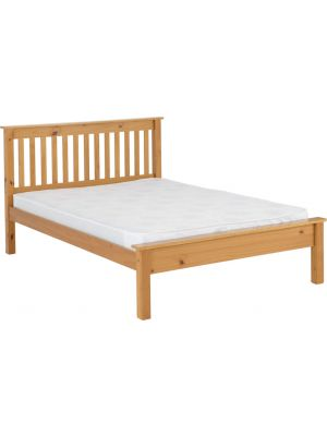 Monaco King Size Bed Low Foot End in Antique Pine