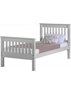 Monaco Grey Single Bed with High Foot End