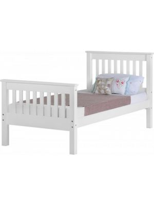 Monaco White Single Bed with High Foot End