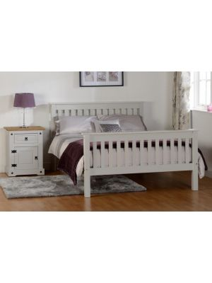 Monaco Grey Double Bed with High Foot End