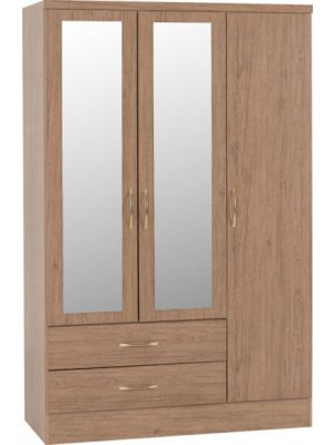 Nevada Rustic Oak 3 Door 2 Drawer Mirrored Wardrobe