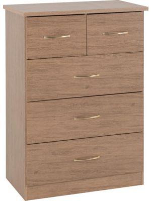Nevada Rustic Oak 3+2 Drawer Chest