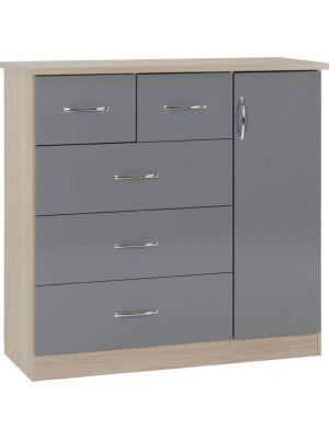 Nevada 5 Drawer Low Wardrobe in Grey Gloss