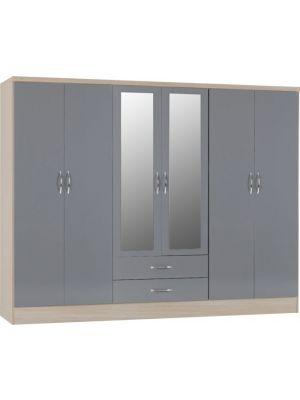Nevada 6 Door 2 Drawer Mirrored Wardrobe in Grey Gloss