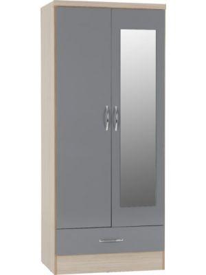 Nevada Mirrored 2 Door 1 Drawer Wardrobe in Grey Gloss