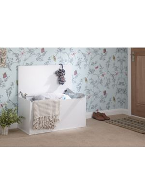 Panama Classic Ottoman Storage Box in White