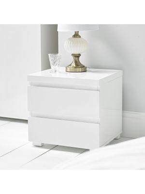 Puro White 2 Drawer Bedside
