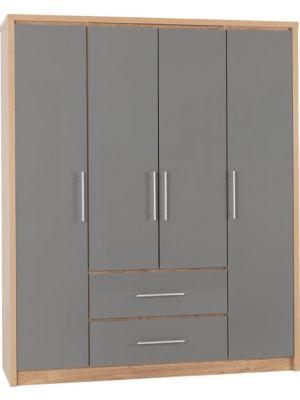 Seville 4 Door 2 Drawer Wardrobe in Grey Gloss