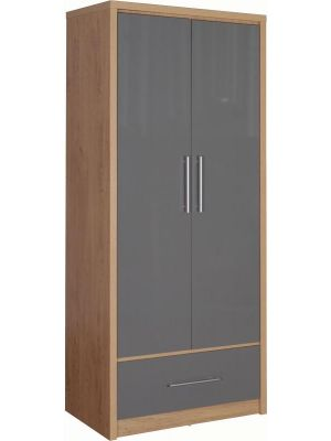 Seville Grey 2 Door 1 Drawer Wardrobe