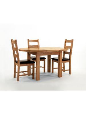 Devon Oak Round Extending Dining Set